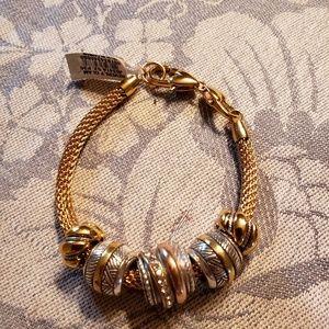 Brighton goldtone Bev glam bracelet with five two-
